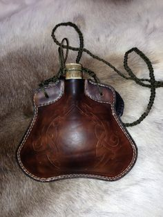 Medieval style leather bottle