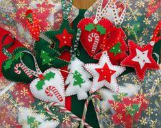 Felt Christmas Decorations - Felt Christmas Ornament - Heart Star Christmas Tree - 3 Felt Christmas Decorations