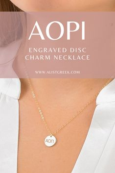 Engraved AOII DG greek letter charm necklace from www.alistgreek.com! #discnecklace #charm #sororitynecklace #customgift #personalized #handmade #custom #sororityjewelry #necklace #greekletters #sororityletters #loveyourletters #bidday #graduaton #biglittlereveal #aoii #aopi #alphaomicronpi Letter Charm Necklace, Letter Charms, Sorority Letters, Sorority Gifts, Sorority Big Little, Big Little Reveal, Alpha Omicron Pi, Greek Design, Greek Jewelry