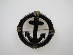 1930s US Navy Carved Black Bakelite Anchor Brooch. USN Patriotic Lapel Pin.  World War II Era Genuine Bakelite Jewelry. Art Deco Jewelry by MercyMadge on Etsy