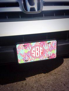 Lily Pulitzer monogrammed car tag!! I love it :)