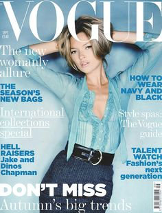September 2005 Kate Moss wears chiffon blouse, by Philosophy di Alberta Ferretti, £151, at Alberta Ferretti. Wool pencil skirt, £262, at Alberta Ferretti. velvet and patent leather belt, £135, at Celine. All make-up by Lancome. Hair: Sam McKnight. Make-up: Val Garland. Nails: Marian Newman. Fashion editor: Kate Phelan. Photography: Nick Knight. Digital artwork by Allan@epilogueimaging.com