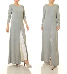Grey Abaya Maxi Dress Long Sleeve Maxi Dress High Slit
