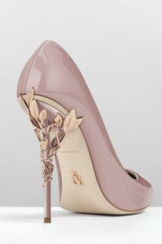 Vintage pink patent with rose gold leaves.