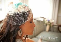Bridal Couture Hairpiece  Aqua Ivory and by LittleLadyAccessory, $42.00