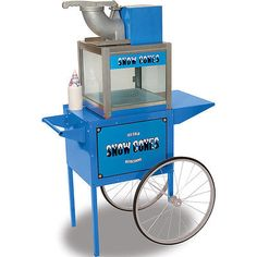Benchmark Snow Cone Maker Shaved Crushed Ice Machine w/ Trolley Cart Stand - NEW