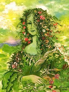 Joconde en fleurs - Peinture,  24x19 cm ©2005 par Christian     Eprinchard -                                                              Surréalisme, Toile, Célébrité, JOCONDE