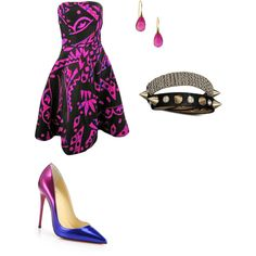 Cute with an Edge by penguins-lily on Polyvore featuring polyvore fashion style Oscar de la Renta Christian Louboutin Lori Kaplan Jewelry Bling Jewelry