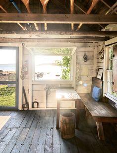 EB White Maine House Writing Studio Boathouse by Mark Fleming Yankee Magazine Eb White, White House Tour, Writing Studio, Writing Desk, Lakefront Property, Shabby, Maine House, Office Interiors, Rustic Design