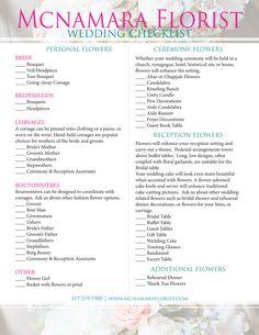 Wedding Party List Template Free   Wedding Flower Checklist Bridal ...