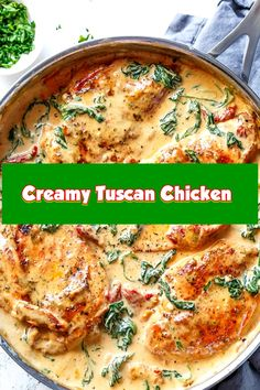 Creamy Tuscan Chicken Creamy tuscan bird filled with spinach and solar dried tomatoes in a thick and creamy . Tuscan Garlic Chicken, Creamy Garlic Chicken, Creamy Tomato Sauce, Chicken Thigh Recipes, Chicken Salad Recipes, Salmon Recipes, Chicken Ideas, Healthy Chicken, Healthy Foods