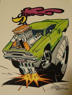"""Beep Beep"" Road Runner artwork by Jeff Swerdtfeger (ca. in the style of Ed ""Big Daddy"" Roth Rat Fink, Rat Rods, Weird Cars, Cool Cars, Mopar, Caricatures, Ed Roth Art, Garage Art, Car Drawings"