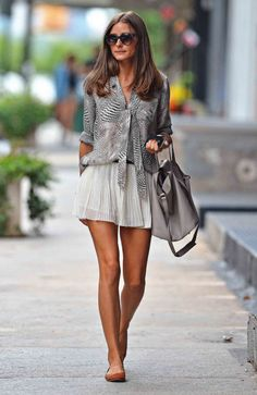 Printed shirt + white pleated skirt + flats