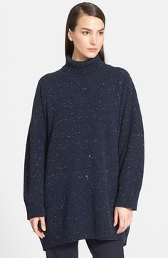 Women's eskandar Lightweight Tweed Turtleneck Sweater - Blue