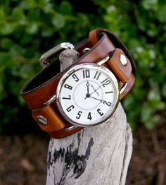 Hand-Crafted Big and Bold Deep Brown Leather Watch for Men and Women. I've always liked this cuff-style leather band Mens Watches Leather, Leather Men, Watches For Men, Cuff Watches, Trendy Watches, Jewelry Accessories, Fashion Accessories, Watch Accessories, Brown Leather Watch