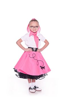Girls 50's Poodle Skirt HOT PINK Small Child 4-5-6