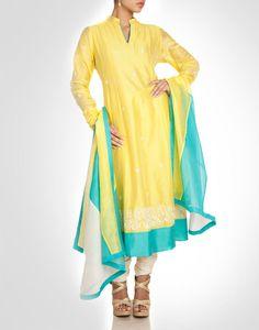 Organza silk tunic with silk churidaar. Shop Now: www.kimaya.in