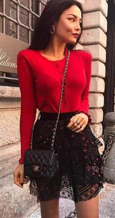 fashion trends | red top + bag + black skirt