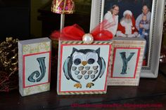 Joy sign with owl. Made out of wooden blocks