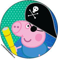 Rótulo Tubetes,Latinhas e Toppers George Pig Pirata: