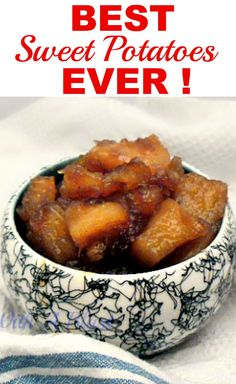 Best Sweet Potatoes Ever just like gran used to make ! Candied Sweet Potatoes are one of the best side dishes ever with a light cinnamon flavor. Sweet Potato Side Dish, Potato Side Dishes, Best Side Dishes, Sweet Potato Recipes, Vegetable Dishes, Potato Meals, Braai Recipes, Side Dish Recipes, Vegetable Recipes