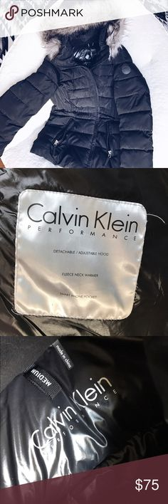 Calvin Klein hooded puffer coat Rated -30 degrees! This coat is so warm and soft on the inside. It was worn a few times this winter. I only bought it because I thought I would gain a lot of weight during this pregnancy, and I haven't, so this coat is big on me! No flaws, only a small hole where tag was ripped out, but can be glued shut easily. This is truly a great buy. Calvin Klein Jackets & Coats Puffers