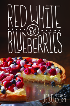 Our Patriotic Fruit Pizza is red, white, and blueberries. And some JELL-O, COOL WHIP, and JET-PUFFED Marshmallows too.