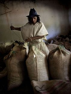 Coffee Warehouse  An Arhuaco man works in a coffee warehouse in the Sierra Nevada de Santa Marta. Arhuaco, believed to be descended from the Tayrona people, produce coffee in the north Colombian mountains.