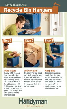 DIY Tutorial: How to Mount Your Recycle Bins on the Wall. Save space and cut…
