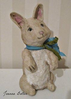 Rabbit - papier mache- folk art- handmade art doll- folk art- ooak doll-