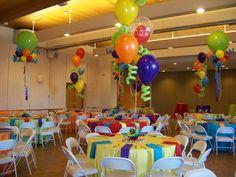 colorful balloon centerpieces
