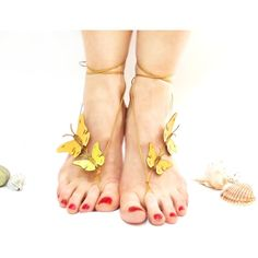 Barefoot sandal, Yellow, Butterfly Barefoot Sandal, Bridesmaids Gift,... ($25) ❤ liked on Polyvore featuring shoes, sandals, bohemian style shoes, yellow sandals, leather sandals, boho chic shoes and boho shoes