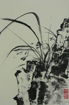 1 - The classic paintings by Robert FAURE De la roche surgit la tendre orchidée Chinese Landscape Painting, Japanese Painting, Chinese Painting, Chinese Art, Landscape Paintings, Sumi E Painting, Plant Painting, Painting Prints, Art Zen