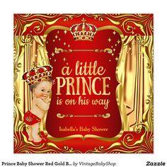 Prince Baby Shower Red Gold Boy Brunette Invite