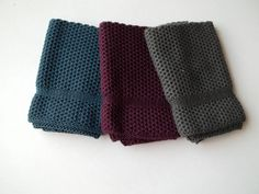 Dish Cloths Knit in Cotton in Anthracite, Mulberry and Steel, Knit Wash Cloths, Dishcloths, Washcloths