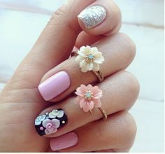60 Ridiculously Pretty Nail Art Designs You'll Want To Copy Immediately - Love this! Pretty and perfect for Easter Sunday. Nail Art Designs, Flower Nail Designs, Pretty Nail Designs, Pretty Nail Art, Cute Nail Art, Beautiful Nail Art, Love Nails, How To Do Nails, Pink Nails