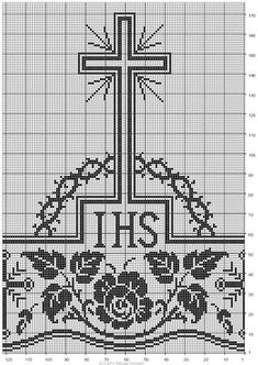 Crochet Altar Cloth Cross And Crochet Lace Edging, Thread Crochet, Crochet Doilies, Bobbin Lace Patterns, Cross Stitch Patterns, Crochet Patterns, Faith Crafts, Catholic Crafts, Filet Crochet Charts