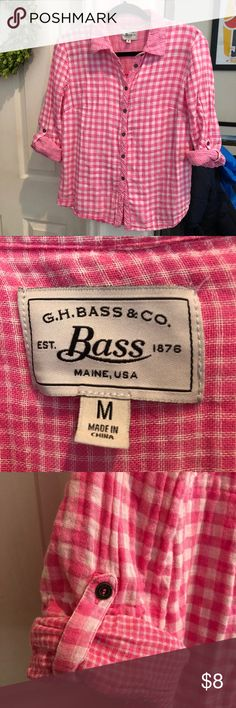 Bass Plaid Button Up Shirt Women's Pink & White Bass Plaid button up shirt Super soft  Perfect for hiking or cute for everyday Option for additional button at bottom Bass Tops Button Down Shirts