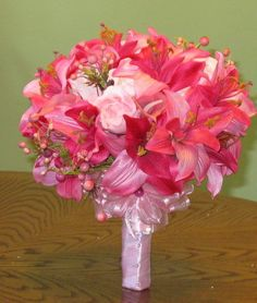 STUNNING BRIDAL BOUQUET PINK ROSES AND TIGER LILLIES