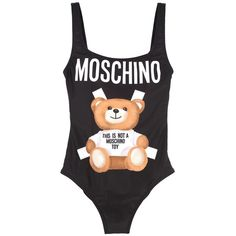 Bear Swimsuit ($130) ❤ liked on Polyvore featuring swimwear, one-piece swimsuits, nero, womenclothingswimwear, low back bathing suit, polyester swimsuits, moschino swimsuit, low back one piece swimsuit and swim costume