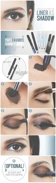 super simple smokey eye with only an eyeliner and brush! - they always make it look SO easy!!! #TBDliner-as-shadow