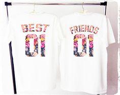 MEJORES amigos camisetas de bff deportivas, mejores amigos t, besties camisas, mejores amigos camisetas, flor mejores amigos, mejores amigos de fleur
