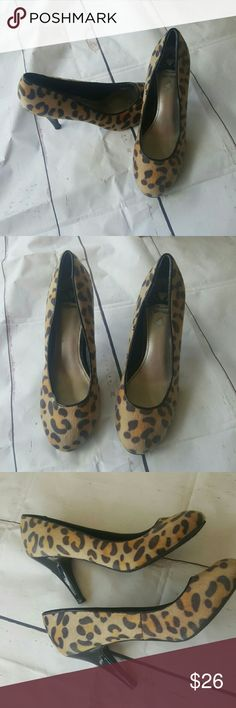 8m fergalicious faux fut leopard print heels Excellent like new condition Fergalicious leopard print heels very soft fur don't worry it's not real fur. 4 inch heels gorgeous for in the workplace or going out to the club. Fergalicious Shoes Heels