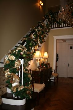 Christmas Foyer Stairs