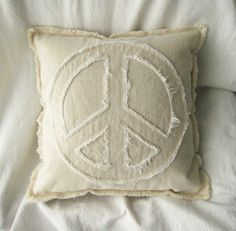 """Peace sign pillow cover in natural and white distressed denim 16"""" boho pillow cover"""