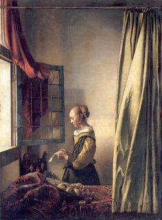 Girl Reading a Letter at an Open Window.                                                     Johannes Vermeer.