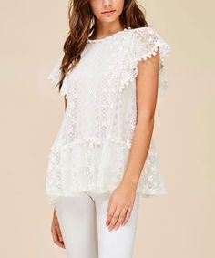 Natural Lace Flutter-Sleeve Top