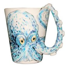 Blue Witch Ceramics | The O List | Pup on a Cup| Hand Crafted Ceramic Arts Blue Witch 3D Animal Mug - Octopus 3D dog mugs, Salt & Pepper Shakers, Picture holders ($20-50) - Svpply