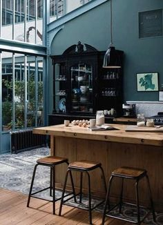 Home-Deco- design - idea - kitchen House Design, House, Interior, Home, House Styles, Industrial Kitchen Design, House Interior, Home Deco, Teal Kitchen