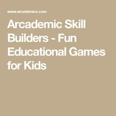 Arcademic Skill Builders - Fun Educational Games for Kids Learning Websites, Learning Games, Math Movies, 1st Grade Math Games, Language Arts Games, Early Finishers Activities, Educational Games For Kids, Teaching Technology, Homeschool Math